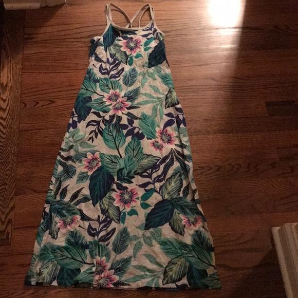 tropical print summer maxi dress